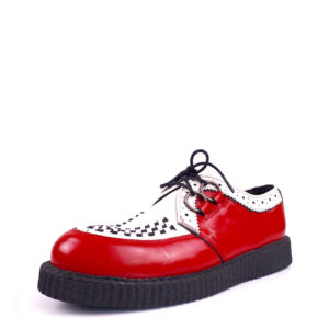Creepers Red & White Leather Shoes Platform Sole. Made with genuine leather. Classic goth punk look. Handcrafted in Portugal.
