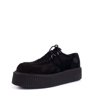 Creepers Shoes Double Platform Lace Up Black Suede. Genuine suede leather. Classic goth punk look. Made in Portugal.