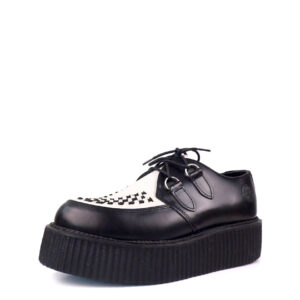 Creepers Shoes Double Platform Lace Up Black & White Leather. Genuine leather. Classic goth punk look. Made in Portugal.