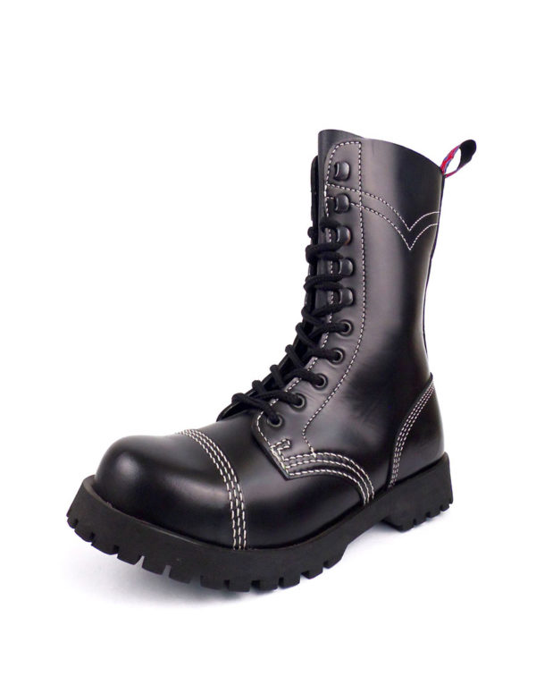 Over view of Rangers steel toe leather boots black goth punk