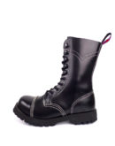 Outside view of Rangers steel toe leather boots black goth punk