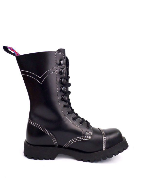 Inside view of Rangers steel toe leather boots black goth punk