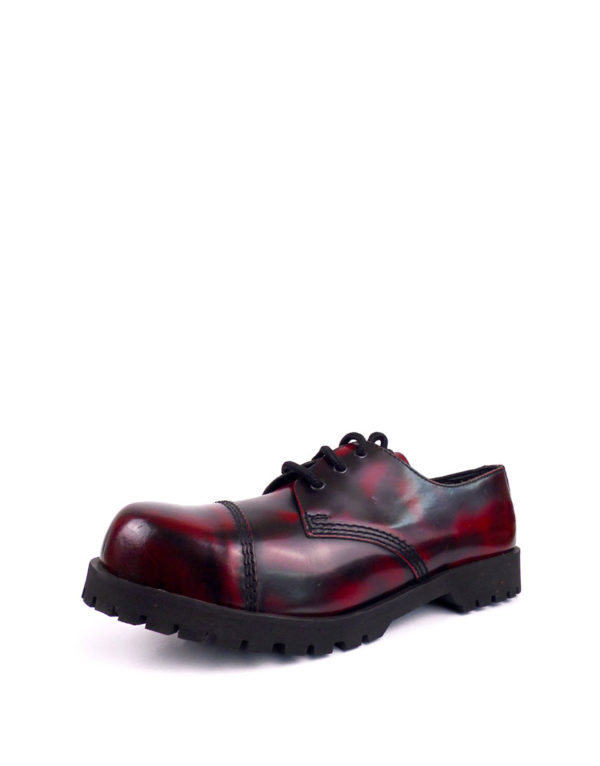 Over view of burgundy rangers steel toe shoes
