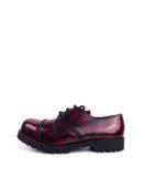Outside view of burgundy rangers steel toe shoes