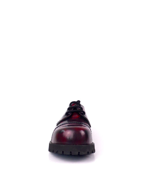 Front view of burgundy rangers steel toe shoes