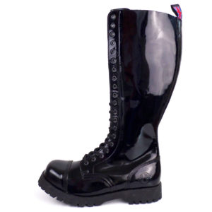 outside view of Rangers 20 Eyelet Steel toe leather boots black goth punk
