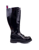 Inside view of Rangers 20 Eyelet Steel toe leather boots black goth punk