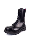 Over view of Rangers Boots 10 Eyelets steel toe leather boots black goth punk