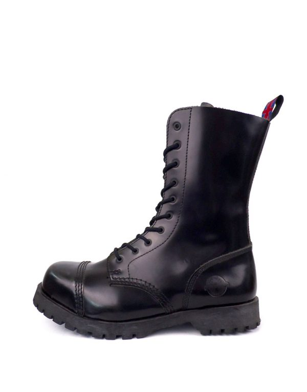 outside view of Rangers Boots 10 Eyelets steel toe leather boots black goth punk