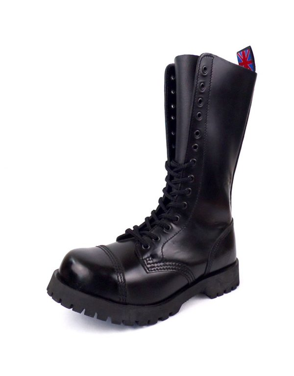 Over view of Rangers Boots 14 Eyelets steel toe leather boots black goth punk