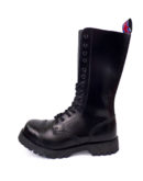 outside view of Rangers Boots 14 Eyelets steel toe leather boots black goth punk