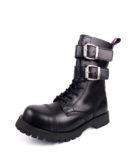 Over view of Rangers Boots 2 Buckles steel toe leather boots black goth punk