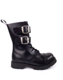 outside view of Rangers Boots 2 Buckles steel toe leather boots black goth punk