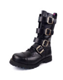 Over view of Rangers Boots 4 Buckles steel toe leather boots black goth punk