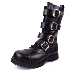 Combat Boots 4 Buckles 14 Eyelet Capped Steel Toe from Nevermind. Available in genuine leather and vegan friendly synthetic leather. Made in Portugal.