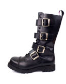 outside view of Rangers Boots 4 Buckles steel toe leather boots black goth punk