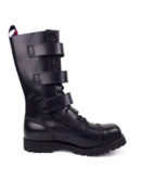 inside view of Rangers Boots 4 Buckles steel toe leather boots black goth punk