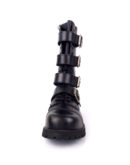 front view of Rangers Boots 4 Buckles steel toe leather boots black goth punk