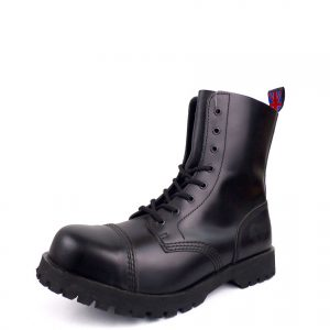 Over view of Rangers Boots 8 Eyelets steel toe leather boots black goth punk