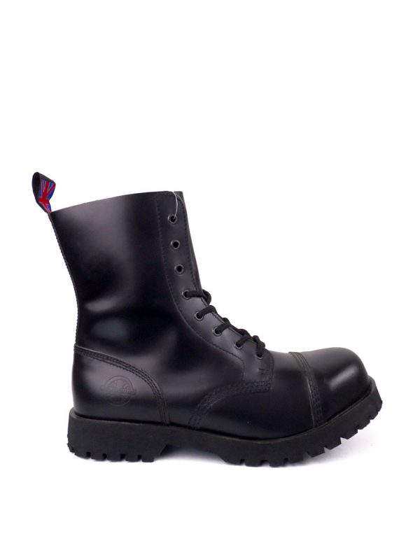 outside view of Rangers Boots 8 Eyelets steel toe leather boots black goth punk