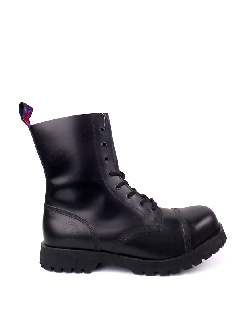 black lace up steel toe boots
