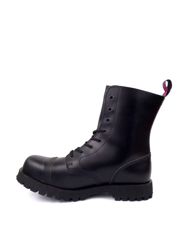 inside view of Rangers Boots 8 Eyelets steel toe leather boots black goth punk