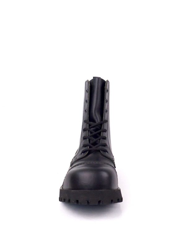 front view of Rangers Boots 8 Eyelets steel toe leather boots black goth punk