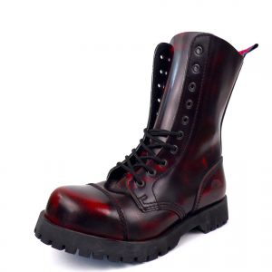 Over view of Rangers Boots Burgundy Steel toe leather boots goth punk