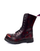 outside view of Rangers Boots Burgundy Steel toe leather boots goth punk