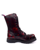 inside view of Rangers Boots Burgundy Steel toe leather boots goth punk