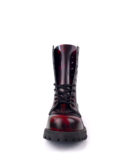 front view of Rangers Boots Burgundy Steel toe leather boots goth punk