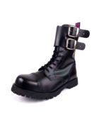 Over view of Rangers Boots Double Buckles steel toe leather boots black goth punk