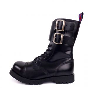 outside view of Rangers Boots Double Buckles steel toe leather boots black goth punk