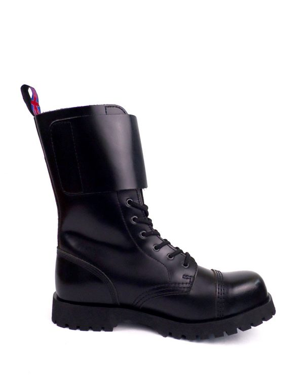 inside view of Rangers Boots Double Buckles steel toe leather boots black goth punk
