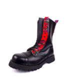 Over view of Rangers Boots Scottish Tartan steel toe leather boots black goth punk