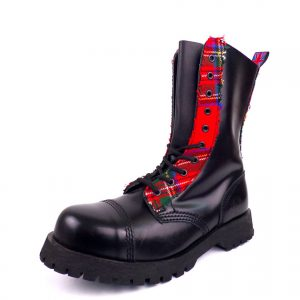 Combat Boots Scottish Tartan 10 Eyelet Capped Steel Toe from Nevermind. Available in genuine leather and vegan friendly synthetic leather. Made in Portugal.