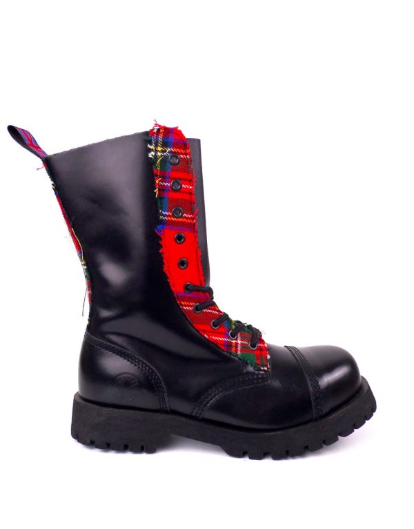 outside view of Rangers Boots Scottish Tartan steel toe leather boots black goth punk
