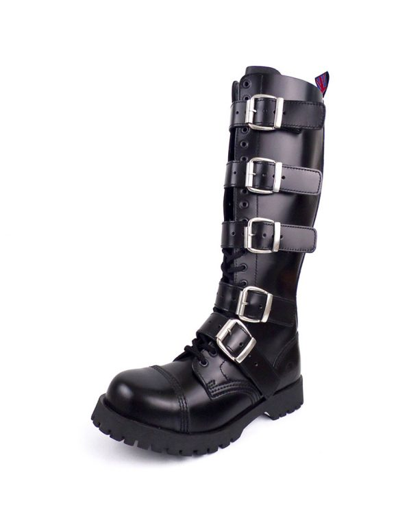 Over view of Rangers high boots buckles steel toe leather boots black goth punk