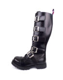 outside view of Rangers high boots buckles steel toe leather boots black goth punk