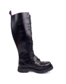 inside view of Rangers high boots buckles steel toe leather boots black goth punk