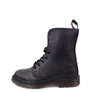 Out side view of Vegan Synthetic Ankle Boot 8 Eyelet goth punk