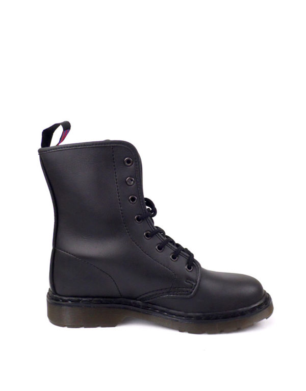 Inside view of Vegan Synthetic Ankle Boot 8 Eyelet goth punk