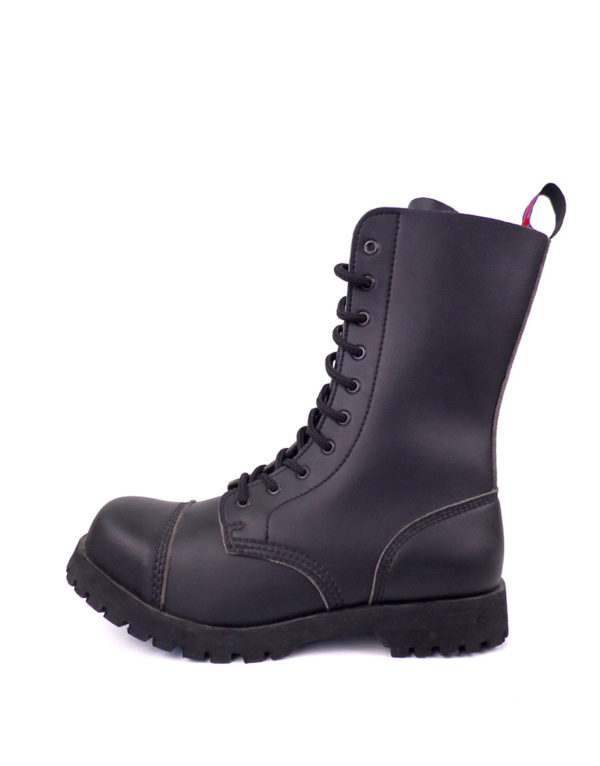 outside view of vegan synthetic steel toe rangers boots 10 eyelet goth punk