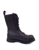 inside view of vegan synthetic steel toe rangers boots 10 eyelet goth punk