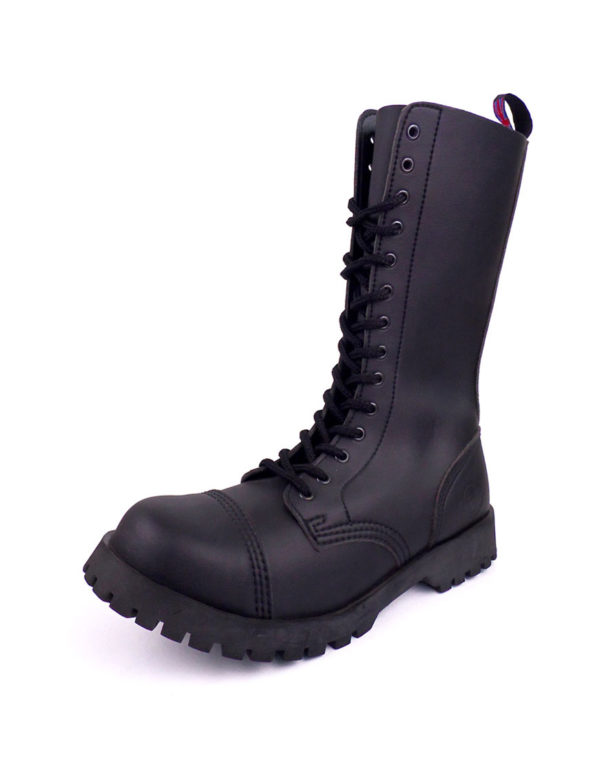 over view of vegan synthetic steel toe rangers boots 14 eyelet goth punk