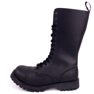 outside view of vegan synthetic steel toe rangers boots 14 eyelet goth punk