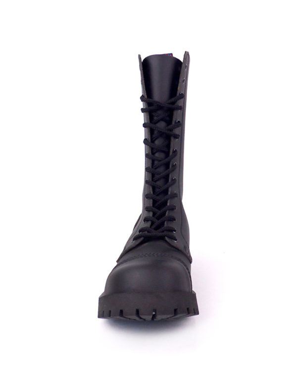 front view of vegan synthetic steel toe rangers boots 14 eyelet goth punk